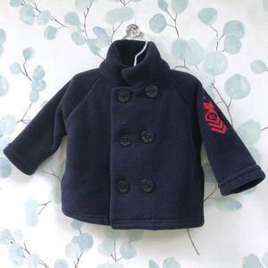 Ralph Lauren Baby Fleece Pea Coat Jacket Navy Blue